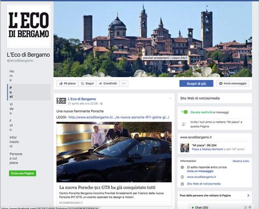 L'Eco di Bergamo su Facebook